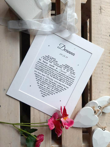 Bridesmaid Gift -  Personalised Poem Print for Bridesmaid or Maid of Honour