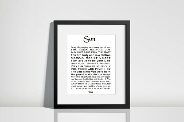 Son 21st Birthday Gift -  personalised print