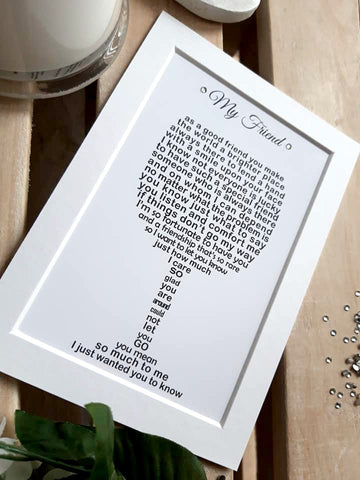 Friend Gift -  Personalised Friend Wine Print, Cheer up Gift, Missing you, happy Birthday 7x5