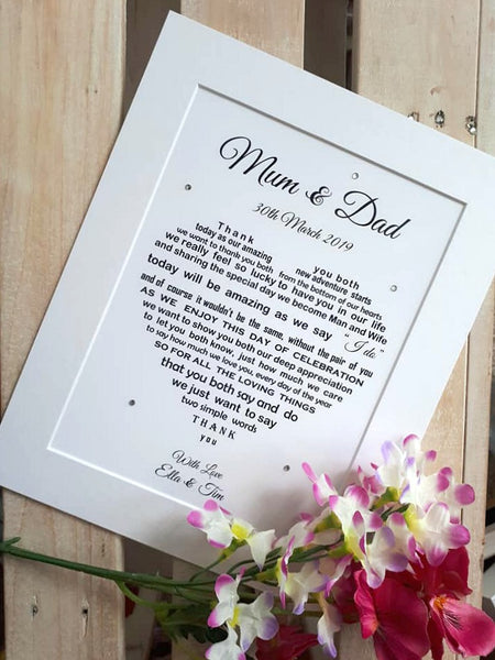 Parents of the Bride Gift - Parents of the Groom - Mum and Dad Wedding Thank You Gift