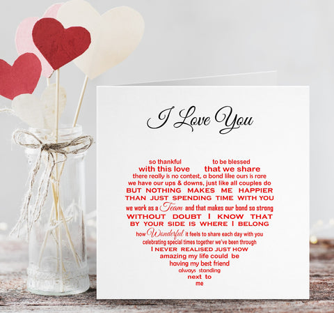 I Love You Card - Valentine for Husband Wife Girlfriend Boyfriend Partner Fiance