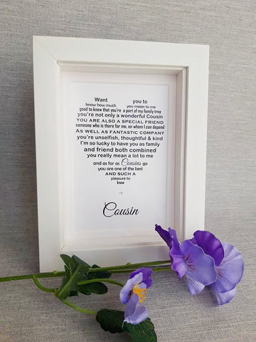 Cousin Gift -   Personalised Poem Print