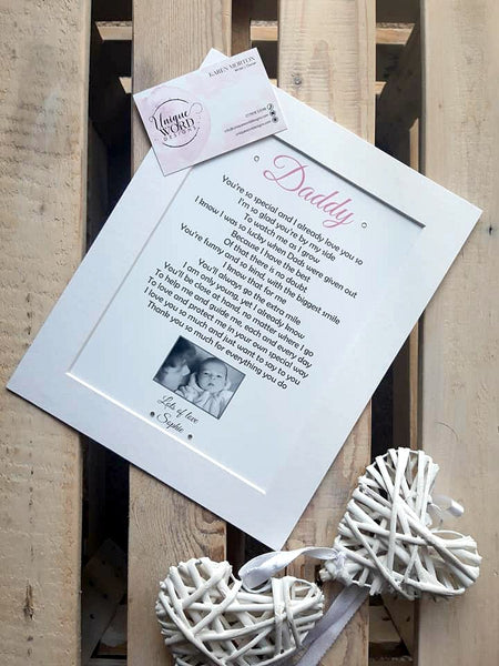 Daddy Photo Gift- Personalised Poem Print from Daughter or Son