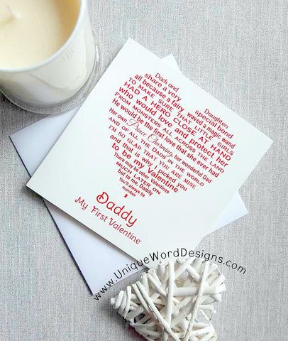 Valentine Card for Daddy and Dad - Unique Valentine card from Daughter
