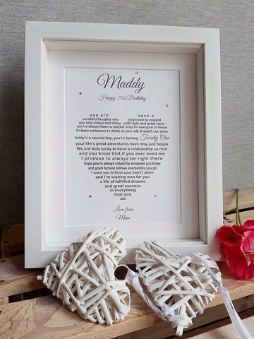 Daughter 21st Gift -  personalised print from Mum Dad