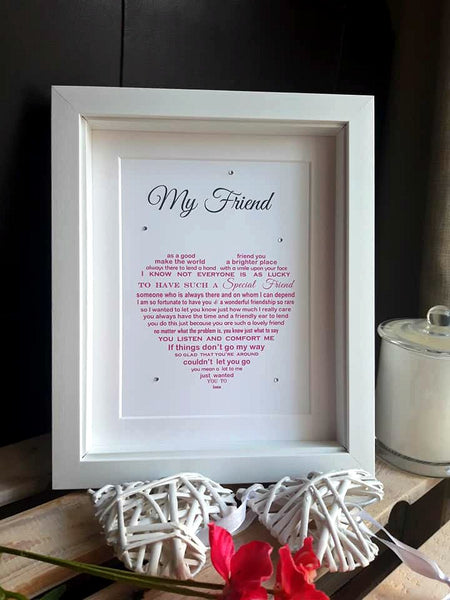 Friend Gift - Sentimental Poem Print shaped into a heart