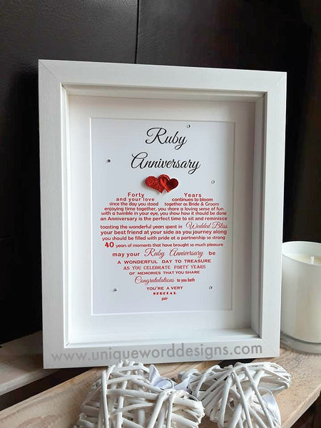 Ruby Anniversary Gift -  For Parents, Auntie & Uncle, Friends etc