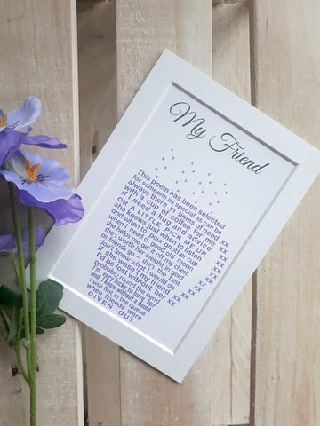 Friend Gift -  Personalised Friend Print, Cheer up Gift, Missing you, happy Birthday 7x5