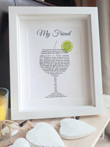 Friend Gift - Gin Poem Print shaped into a Glass