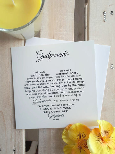 Godparents Card - Godparents Anniversary, Christening or Christmas Card