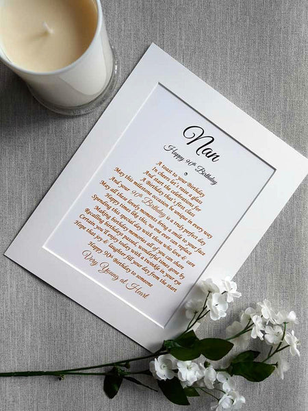 90th Birthday Gift -  Personalised poem print