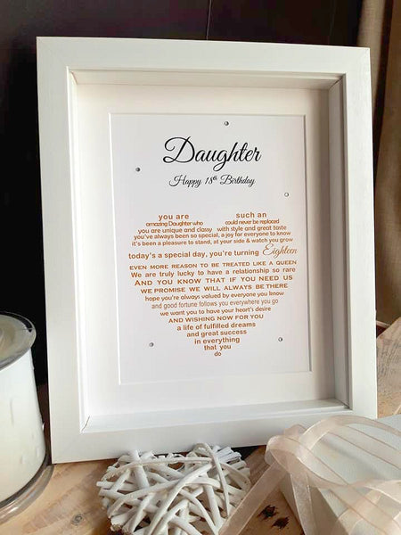 Daughter 18th Birthday Gift -  personalised print