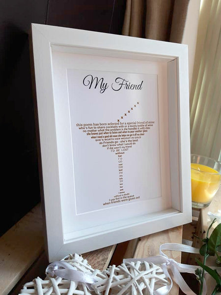 Friend Gift - Cocktail Poem Print shaped into a glass