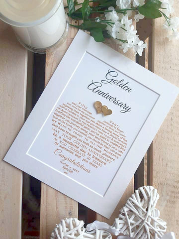 Golden Anniversary Gift -  For Parents, Grandparents or Friends