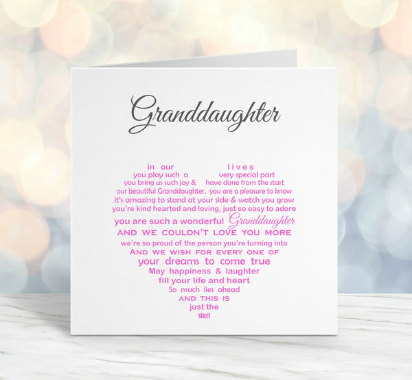 GrandDaughter Card - Pink Sentimental Card for Birthday or Christmas