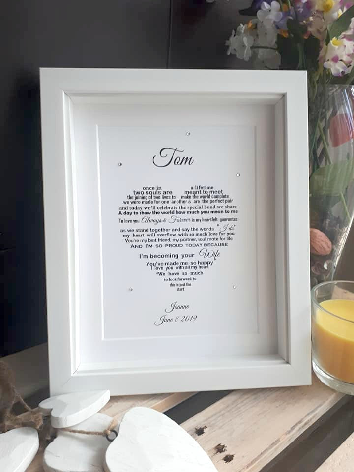Groom Wedding Day Gift - Personalised poem print for your Husband or Wife to be