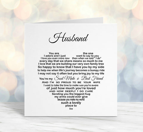 Husband Birthday Card - Husband Anniversary card