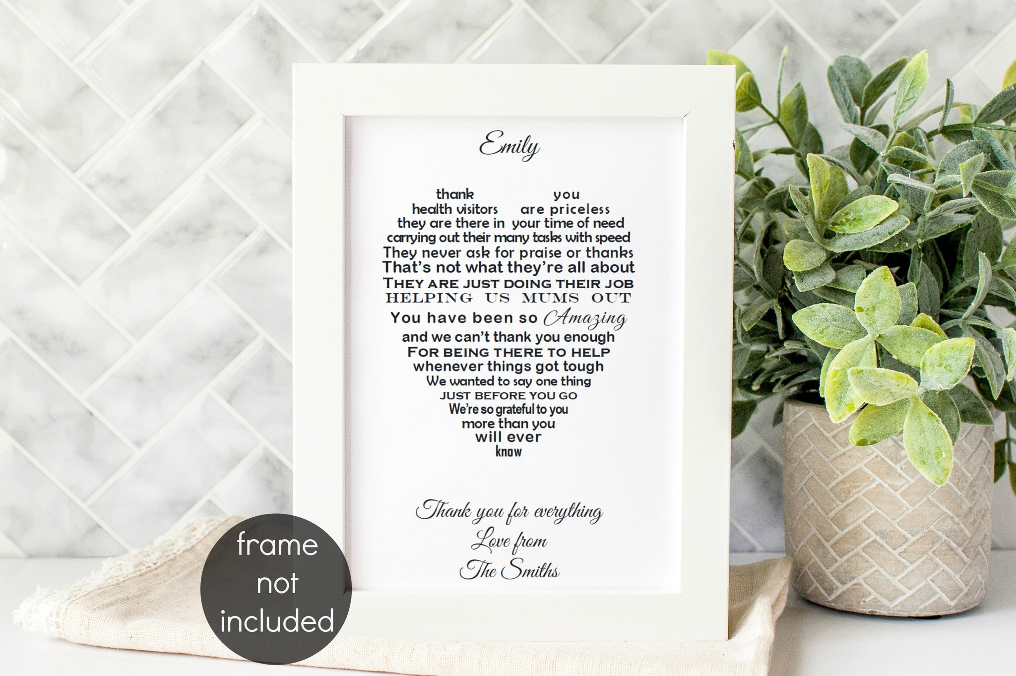 Health Visitor Thank You Gift -   UNFRAMED Personalised Poem Print