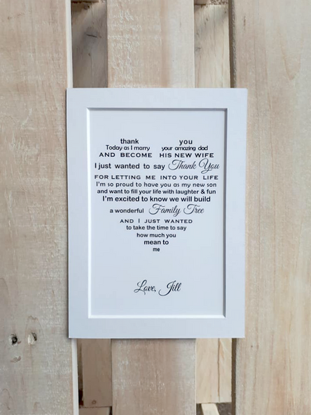 Wedding Day gift for Stepson -  7x5 Personalised Wedding Poem Print