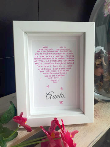 Auntie Gift -  Aunty, Aunt Personalised Poem Print