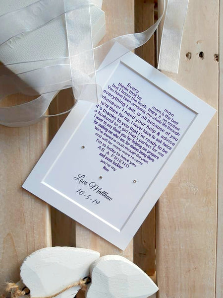 Wedding Day Gifts for Mum - Mother of the Groom -  7x5 Personalised Wedding Poem Print