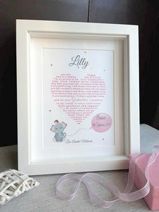 Goddaughter Christening Gift - Personalised print for God Daughter