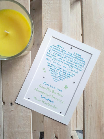 Nursery Print - Leaving Nursery poem print Heart shape (7x5)