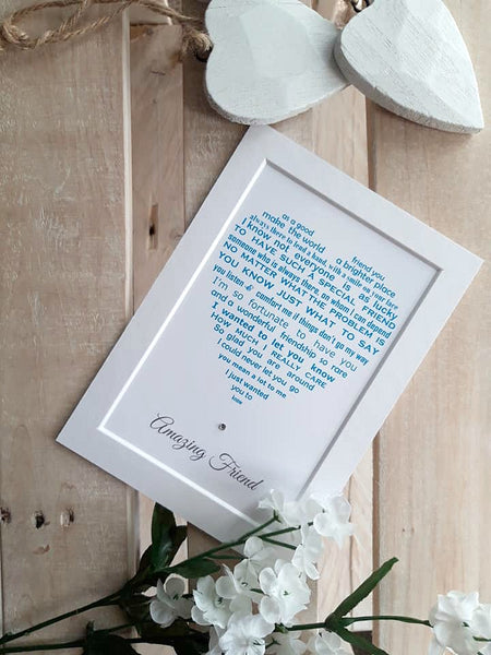Friend Gift -  Personalised Poem Print