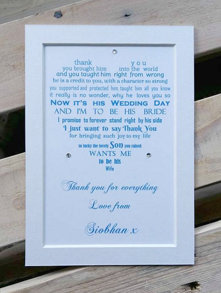 Mother of the Groom wedding Gift from Bride-  7x5 Personalised Wedding Poem Print