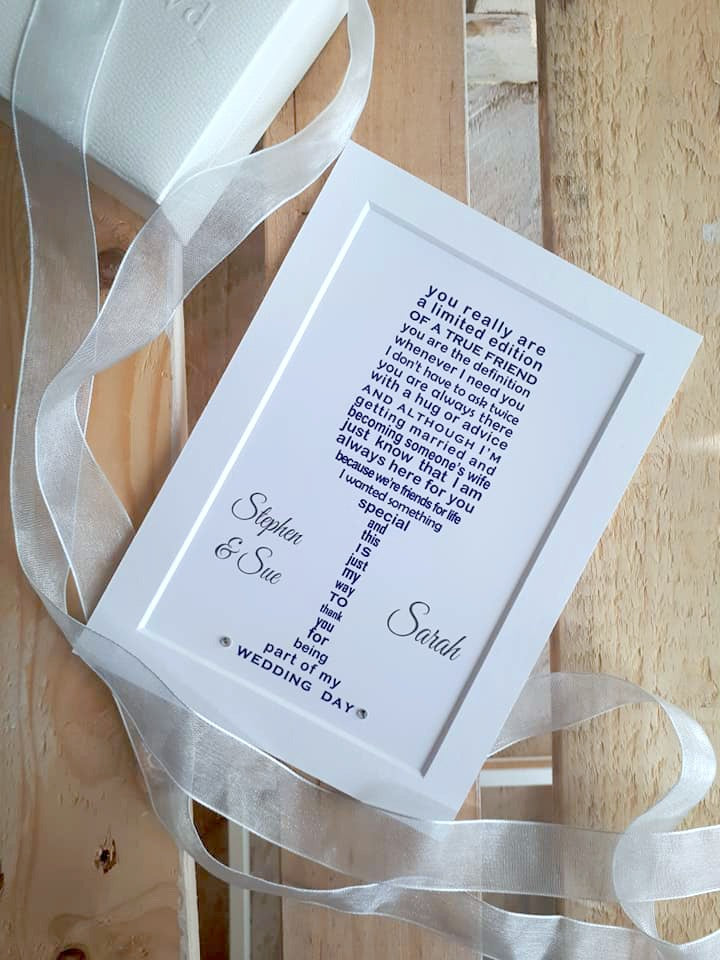 Bridesmaid Gift -  Personalised Wedding Thank You - Personalised Poem Print