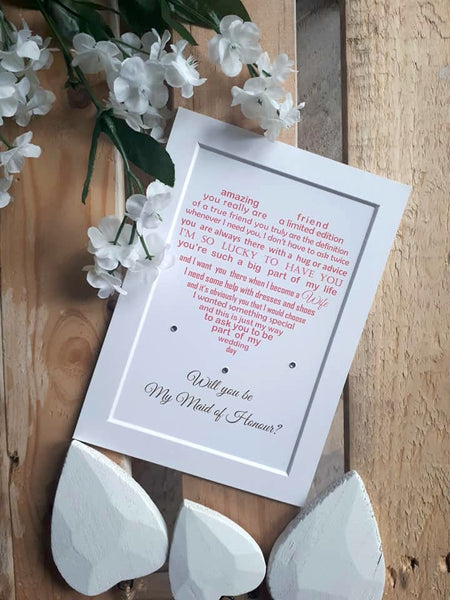 Wedding Day request Will you be my Bridesmaid or Maid of Honour -  7x5 Personalised Wedding Poem Print