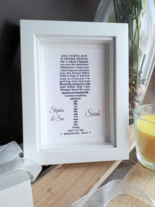 Wedding Day Gifts for Bridesmaid or Maid of Honour -  7x5 Personalised Wedding Poem Print