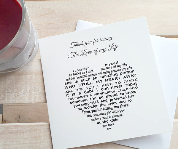 Wedding Card - Thank you for raising the love of my life