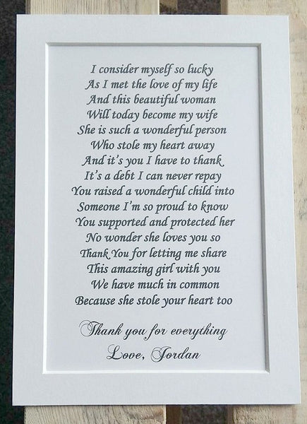 Father of the Bride Gift from Groom -   7x5 Personalised Wedding Poem Print