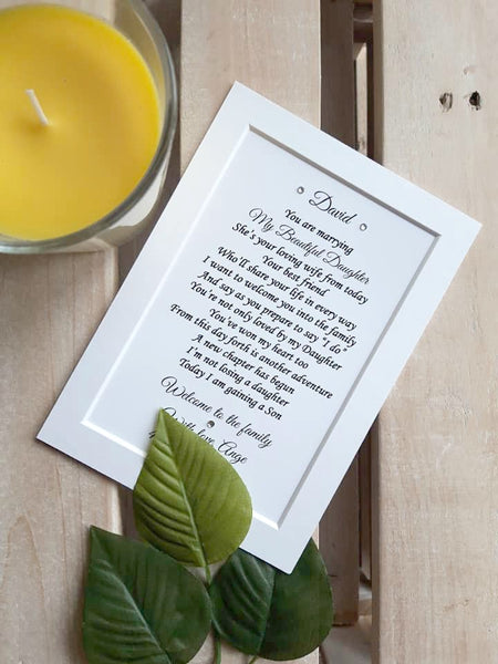 Son in Law wedding Gift -  7x5 Personalised Wedding Poem Print