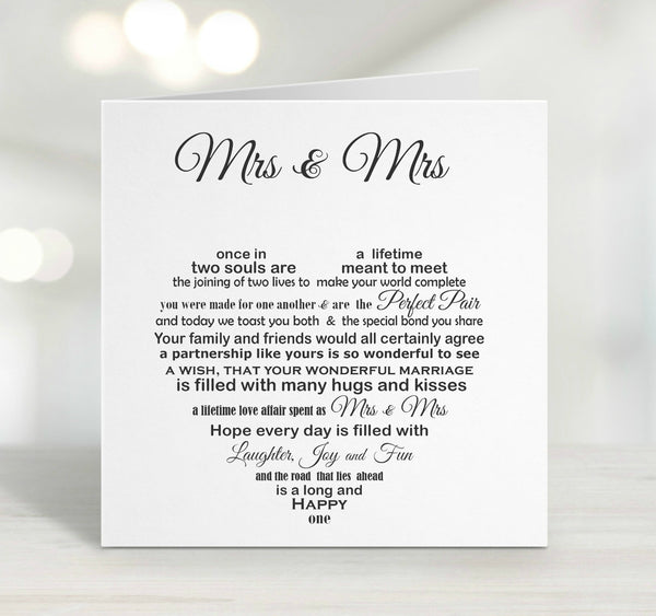 Wedding Card - Mrs & Mrs Lesbian Wedding Card