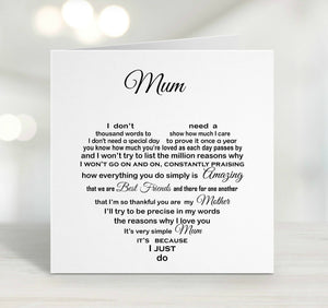 Mum Card - Mum Birthday Card