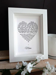 Mum Gift -  Personalised Poem Print to fit 7x5 frame
