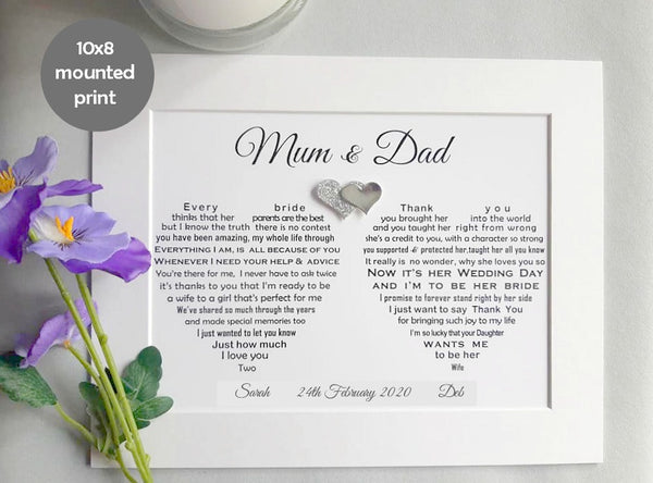 Parents of the Bride Gift - Personalised Lesbian Wedding Prints for Mum and Dad