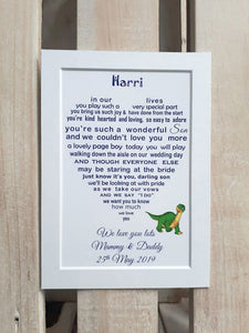 Page Boy Gift -  7x5 Personalised Wedding Poem Print