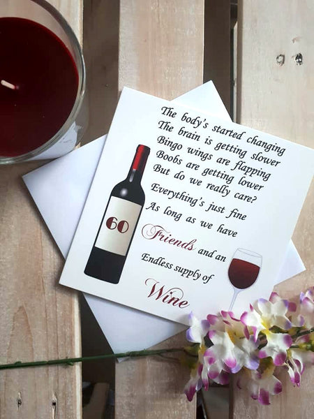 Friend 60th Birthday Card - Wine 60th card