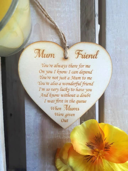 Wooden Heart - Mum & Friend poem