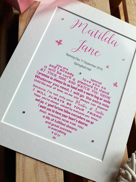 Naming Day Gift - Personalised poem print for your Daughter, Granddaughter, Godchild etc