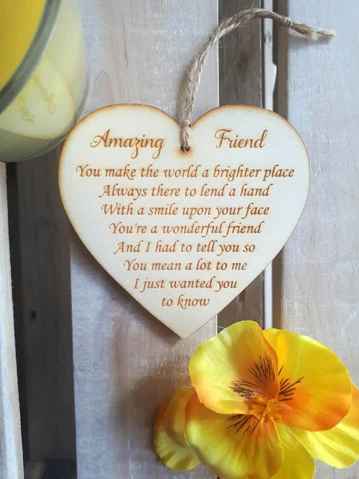 Wooden Heart - Amazing Friend poem