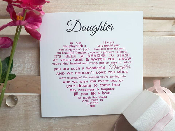 Daughter Card - Daughter Birthday Card, Christmas Card