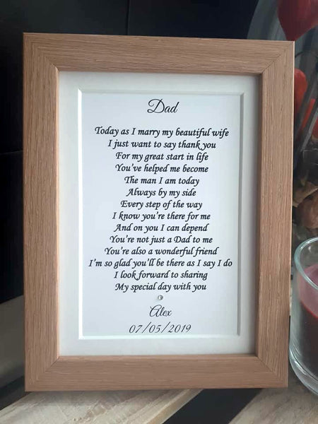 Wedding Day Gifts for Dad - Father of the Groom -  7x5 Personalised Wedding Poem Print