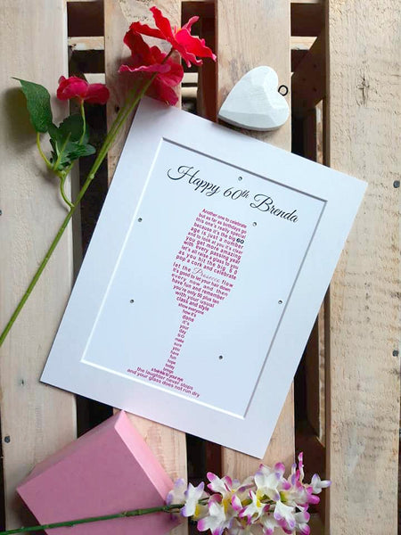 60th Birthday Gift -  Prosecco / Champagne Glass personalised poem print