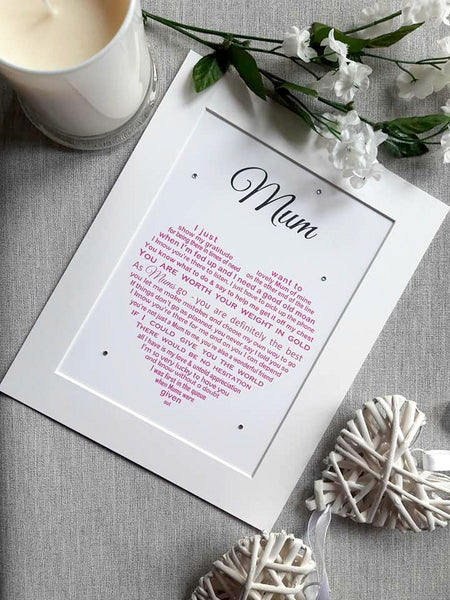 Mum Gift -  Personalised poem print for Mum on Mothers Day, Christmas or her Birthday