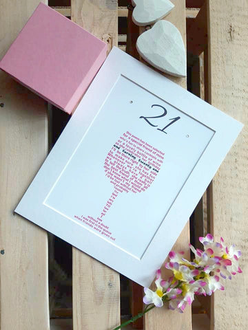 21st Birthday Gift -  Wine Glass personalised poem print