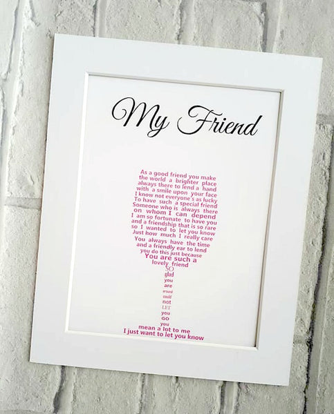 Friend Gift - Sentimental Poem Print shaped into a wine glass